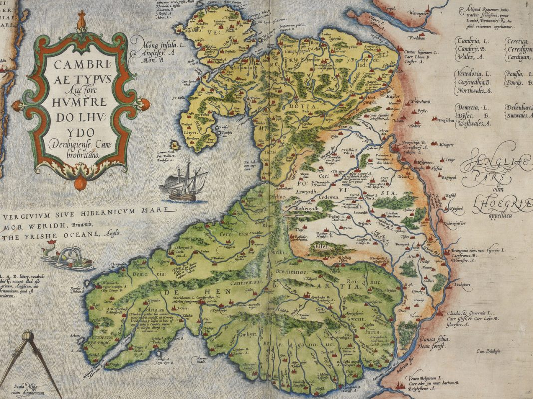 Coloured printed map of Wales and Anglesey