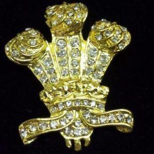 Diamante Three Feathers Brooch