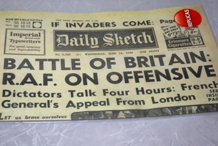 Battle Of Britain Replica Newspaper